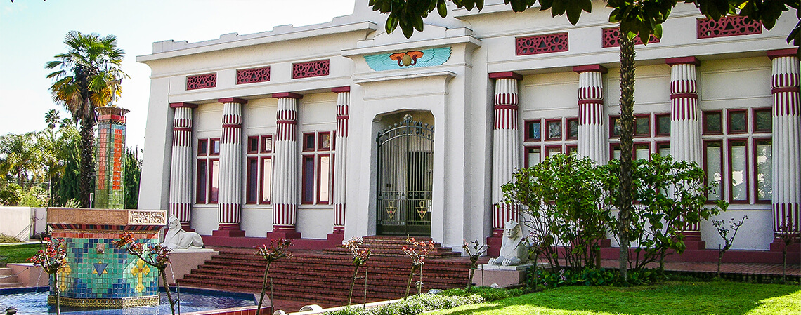 The Science Building of the Rose-Croix University, located in Rosicrucian Park, San Jose CA